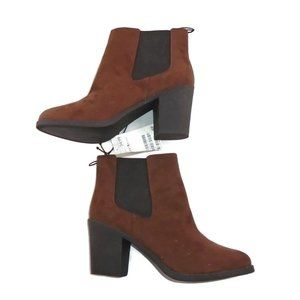 H&M Brown Faux Suede Ankle Boots NWT 8 Slip Ons